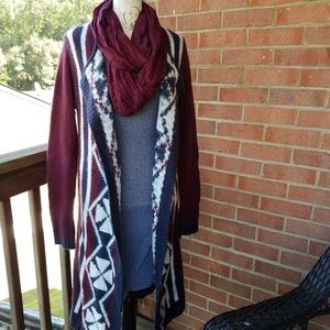 RUE 21 OpenFront Geo Print Sweater Cardigan Duster